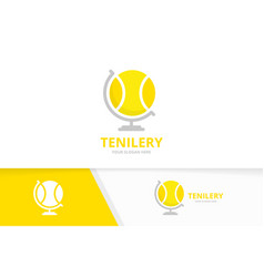 tennis and globe logo combination game and vector image
