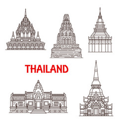Thailand ayutthaya and hua hin landmark icons vector