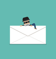 thief climb out from phishing mail vector image