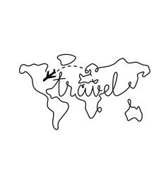 travel world with plane line style vector image