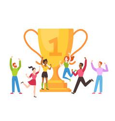trophy cup concept success business team vector image