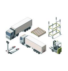 trucks and warehouse equipment isometric vector image