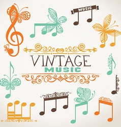 Vintage music design elements vector image