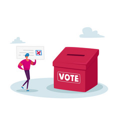 Vote election or social poll tiny voter male vector