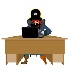 web pirate and laptop internet hacker and pc vector image