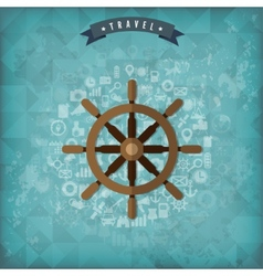 Wheel web icon Old vintage travel background vector