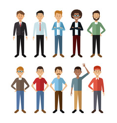 white background with full body group male people vector image