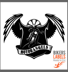 wings and motorcycle - badge or label with biker vector image