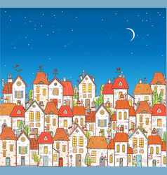 with doodle cartoon colored houses on vector image