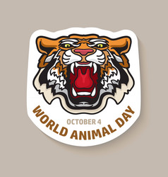 world animal day card with a tiger vector image