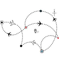 airline plane flight path vector image