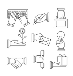 Business Icons Set With Hands in Linear Style vector image