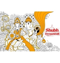 Goddess Lakshmi and Lord Ganesha on happy Diwali vector image