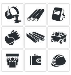 Metallurgy icons set vector