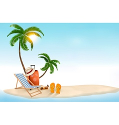 travel background with beach chair and palms vector image vector image