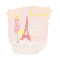 beautiful women Shopping in Paris card vector image vector image