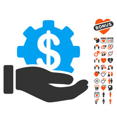 financial development gear hand icon with vector image vector image