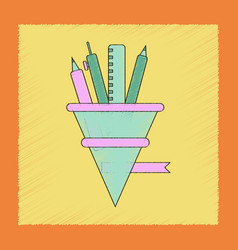 flat shading style icon bell pencil ruler vector image vector image