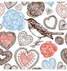 Hearts and bird vector image