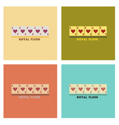 Assembly flat icons poker royal flush vector