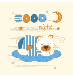 Cute baby background with sleeping bear vector image