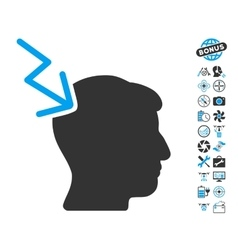 Head Electric Strike Icon With Copter Tools Bonus vector image vector image