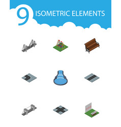 isometric architecture set of highway aiming game vector image vector image