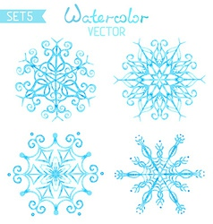 Set of watercolour snowflakes vector image