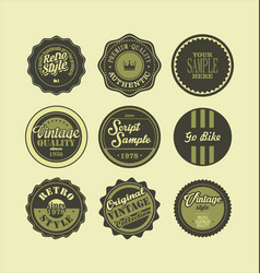 vintage labels black and green set 2 vector image vector image