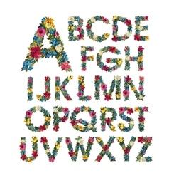 Colorful floral alphabet vector