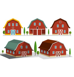 houses on farm farming concept buildings set vector image