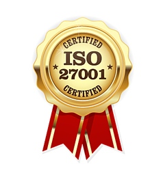 ISO 27001 standard certified rosette - Information vector image vector image