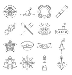 nautical icons set outline style vector image