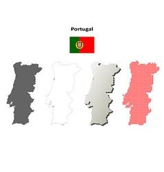 Portugal outline map set vector image vector image