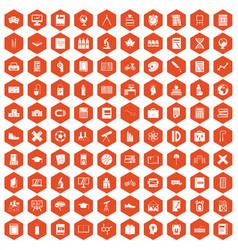 100 school icons hexagon orange vector image
