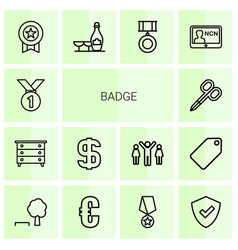 14 badge icons vector