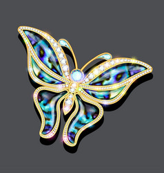 a shiny glamorous butterfly brooch on a dark vector image