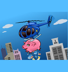 an helicopter with a piggy bank throwing money vector image