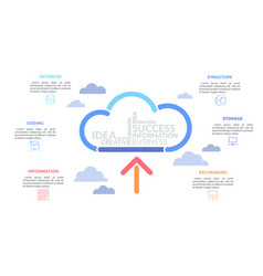 arrow pointing at cloud drawn multicolored vector image
