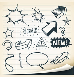 Arrows signs and sketched elements set vector