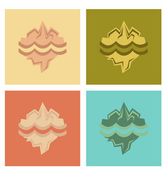 Assembly flat icons nature melting glacier vector