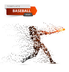 baseball player - color dot on the vector image