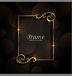 Beautiful golden floral invitation frame vector