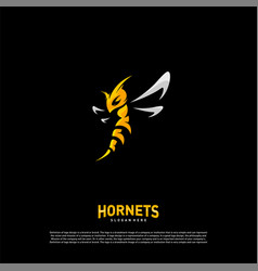 bee logo design hornets logo template icon symbol vector image