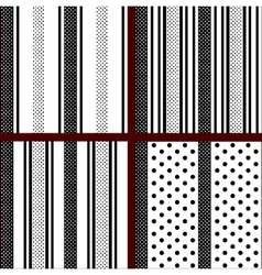 Black and white vertical striped polka dot vector