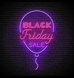 black friday red neon sign with purple bubble vector image