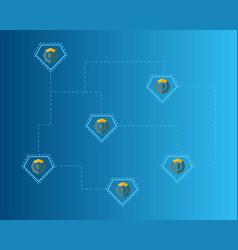 blockchain komodo symbol on blue background vector image