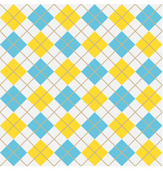 blue and yellow argyle harlequin seamless pattern vector image