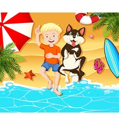 Boy and dog resting on the beach vector