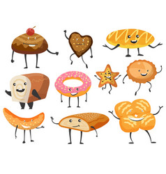 bread bakery assortiment various funny bread vector image